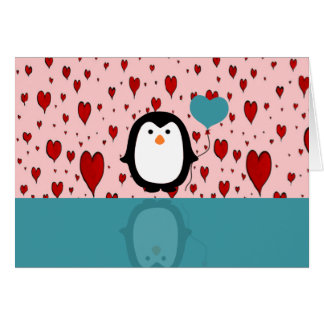 Adorable Penguin with Heart Balloon Card