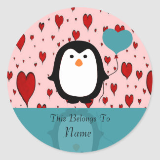 Adorable Penguin with Heart Balloon Classic Round Sticker