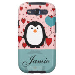 Adorable Penguin with Heart Balloon Custom Name Samsung Galaxy SIII Case