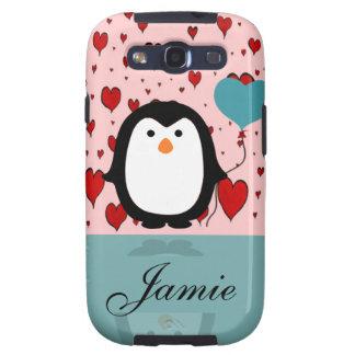 Adorable Penguin with Heart Balloon Custom Name Galaxy S3 Cases