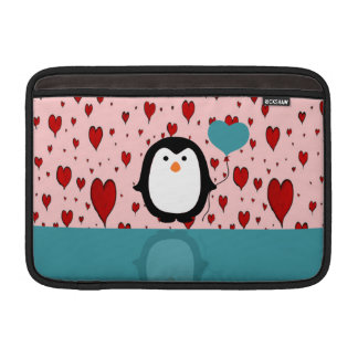 Adorable Penguin with Heart Balloon MacBook Air Sleeves