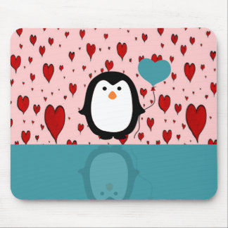 Adorable Penguin with Heart Balloon Mouse Pad