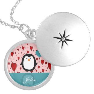 Adorable Penguin with Heart Balloon Pendants