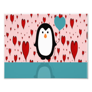 Adorable Penguin with Heart Balloon Photo Print