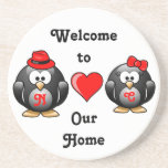 Adorable Penguins Red Heart Hat Ribbon Love Pair Beverage Coasters