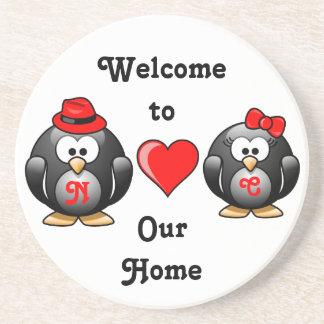 Adorable Penguins Red Heart Hat Ribbon Love Pair Coasters