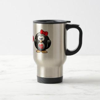 Adorable Penguins Red Heart Hat Ribbon Love Pair Travel Mug