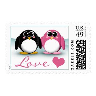 Adorable Penguins Winter Love Postage Stamps
