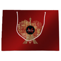 Adorable Personalizable Love Paris Gift   Red Gold Large Gift Bag