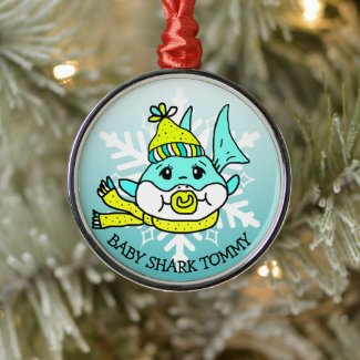 Adorable Personalized Baby Shark and Snowflake Metal Ornament