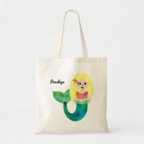 Adorable Personalized Faux Foil Blonde Mermaid Tote Bag