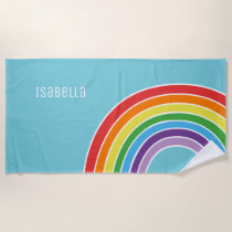 Adorable Personalized Girls Colorful Rainbow Beach Towel