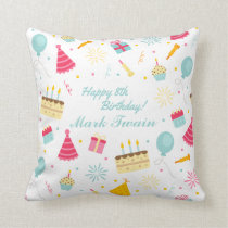 Adorable Personalized Happy Birthday Throw Pillow