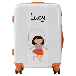 Adorable Personalized Happy Cartoon Girl Suitcase Luggage