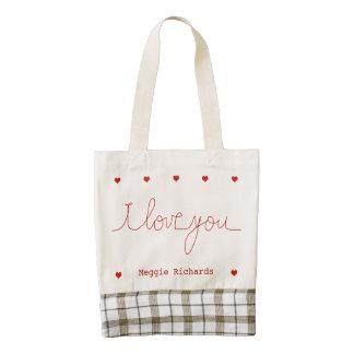adorable personalized Iloveyou Zazzle HEART Tote Bag