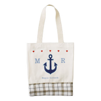 adorable & personalized nautical anchor zazzle HEART tote bag