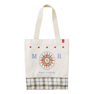 adorable & personalized nautical compass-rose zazzle HEART tote bag