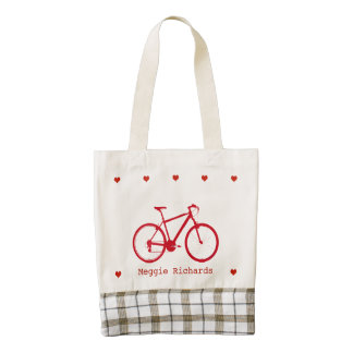 adorable personalized red bike zazzle HEART tote bag