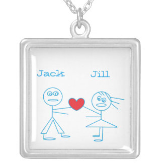 Adorable Personalized Stick Figure Couple in Love Silver Plated Necklace