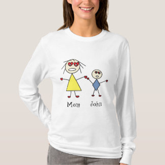 Adorable Personalized Stick Mom and Son Design T-Shirt