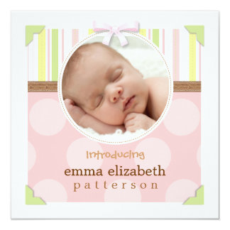 Adorable Photo Frame Baby Girl Birth Announcement