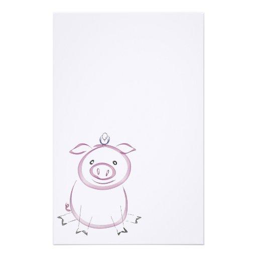 Adorable Pig and Bird Custom Stationery