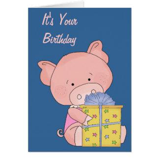 Adorable Pig Birthday Card