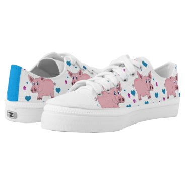 Valentines Themed Adorable Pigs Hearts and Flowers Shoes