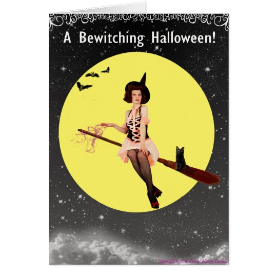 Adorable Pin-Up WItch Card