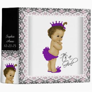 Adorable Pink and Purple Princess Baby Vinyl Binder