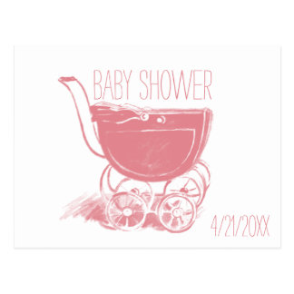 Adorable Pink Baby Girl Carriage Retro Baby Shower Postcard