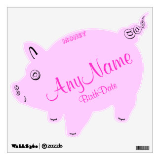 Adorable Pink Birth Date Piggy Bank Birth Date Wall Decal