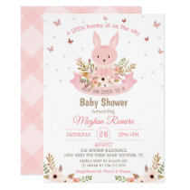 Adorable Pink Bunny with Flowers Baby Shower Invitation