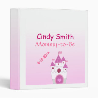 Adorable Pink Castle Mommy-to-Be Baby Shower 3 Ring Binder