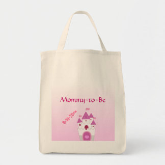 Adorable Pink Castle Mommy-to-Be Baby Shower Grocery Tote Bag
