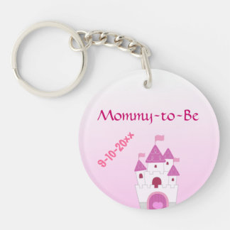 Adorable Pink Castle Mommy-to-Be Baby Shower Keychain