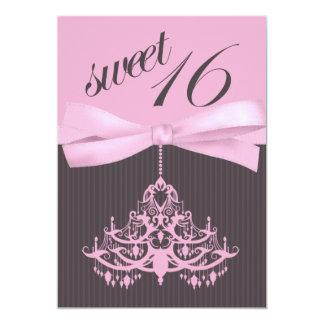Adorable Pink Chandelier Sweet Sixteen Invitation