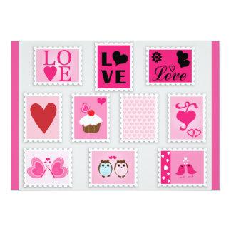 ADORABLE PINK CUTE LOVE HEARTS OWLS HAPPY SWEETHEA CARD
