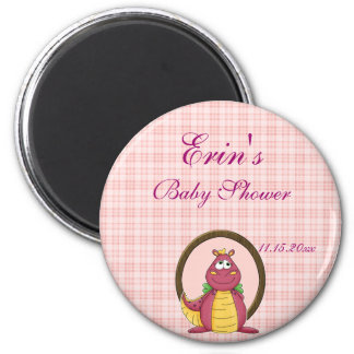 Adorable Pink Dragon  Baby Shower Magnet