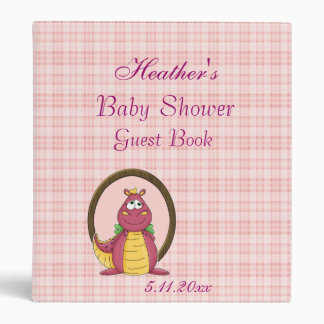 Adorable Pink Dragon on Pink Plaid Baby Shower 3 Ring Binder
