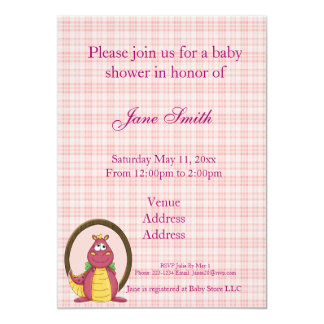 Adorable Pink Dragon on Pink Plaid Baby Shower 5x7 Paper Invitation Card