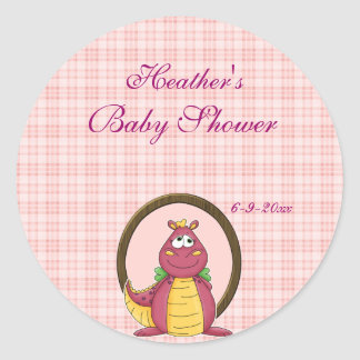 Adorable Pink Dragon on Pink Plaid Baby Shower Classic Round Sticker