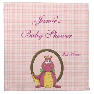 Adorable Pink Dragon on Pink Plaid Baby Shower Cloth Napkin