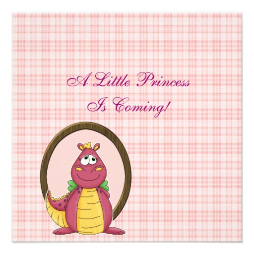Adorable Pink Dragon on Pink Plaid Baby Shower Personalized Invites