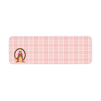 Adorable Pink Dragon on Pink Plaid Baby Shower Label
