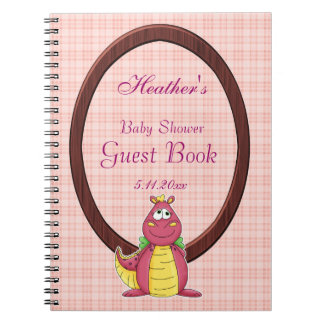 Adorable Pink Dragon on Pink Plaid Baby Shower Spiral Notebook