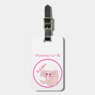 Adorable Pink Elephant Mommy-to-Be Baby Shower Bag Tag