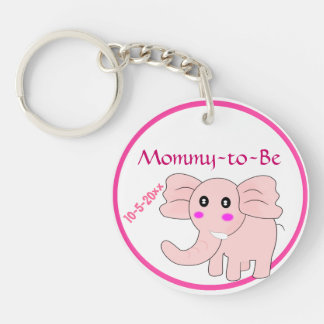 Adorable Pink Elephant Mommy-to-Be Baby Shower Keychain