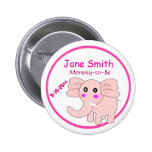 Adorable Pink Elephant Mommy-to-Be Baby Shower Pin
