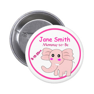 Adorable Pink Elephant Mommy-to-Be Baby Shower Pinback Button